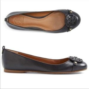 Tory Burch All Black Leather Flats 7.5 NWOB